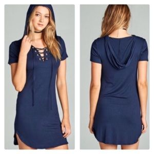 💙🌸🆕🌸💙 Navy Lace Up Hoodie Dress